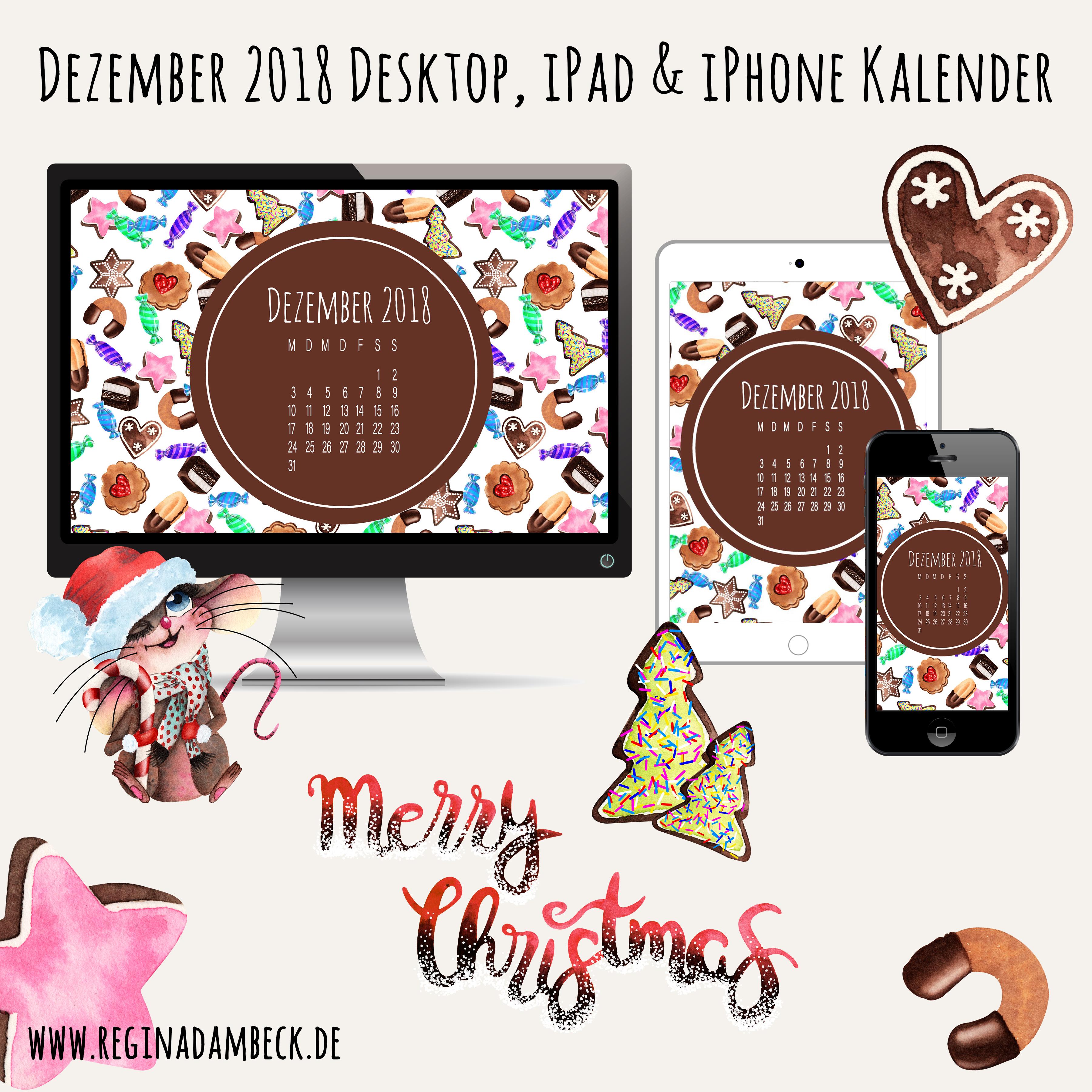 Dezember 2018 Desktop Kalender Freebie