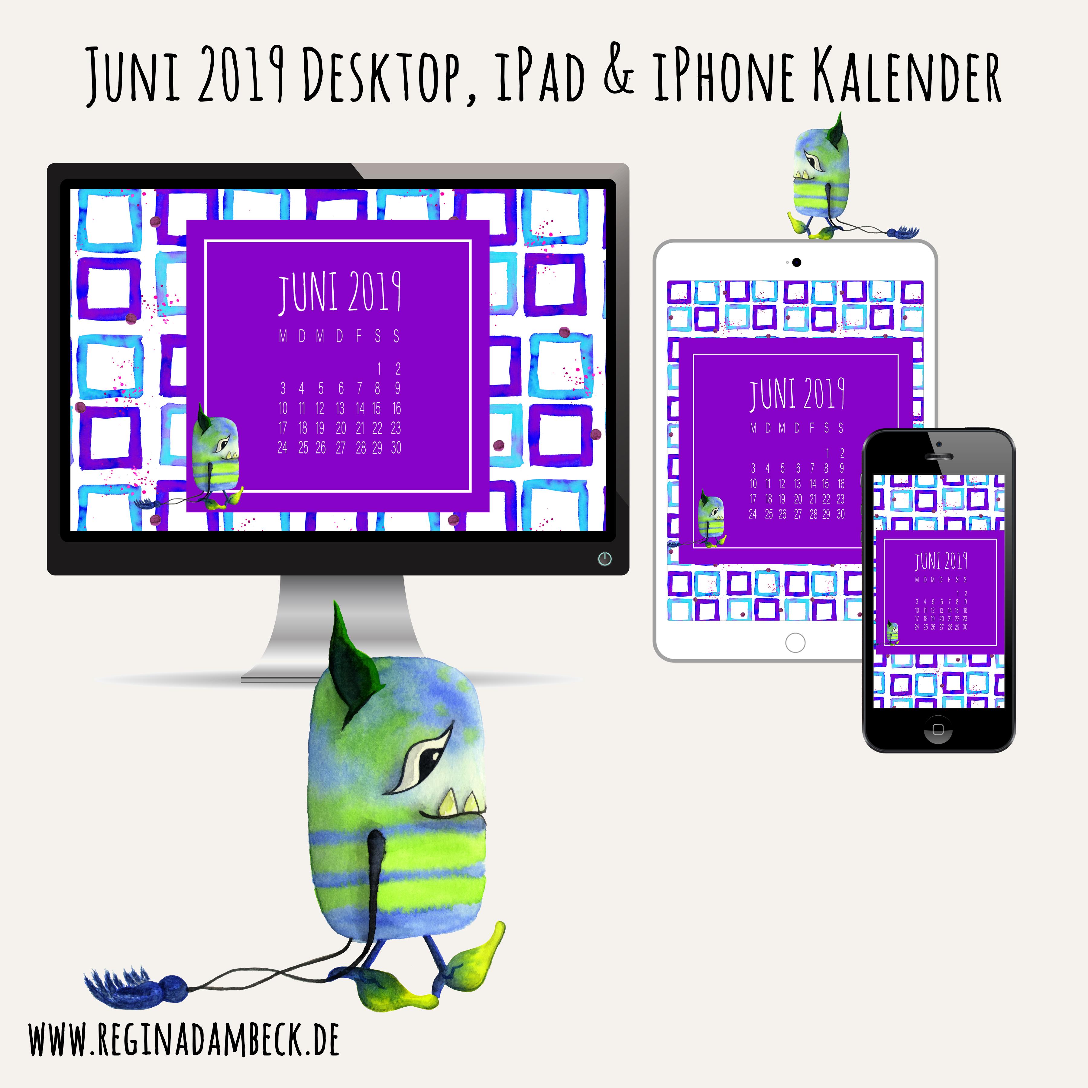 Juni 2019 Desktop Kalender Freebie