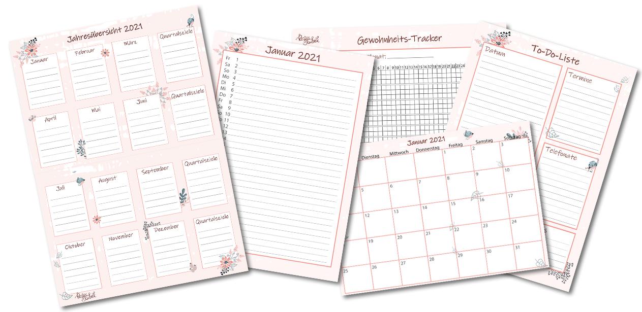Jahresplan 2021 freebie kostenloser download Regina Dambeck