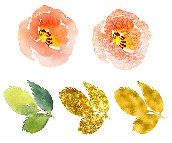 Aquarellblumen mit Glitter und Gold